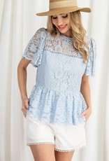 Miss Bliss Lace Peplum Top- Sky Blue