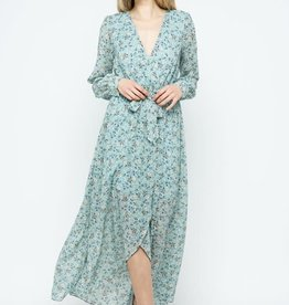 Miss Bliss Printed Maxi Dress- Mint