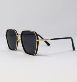 Priv Priv Dominica Wide Geo Black Sunglasses