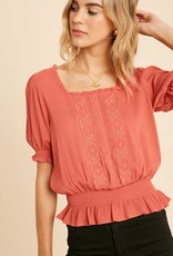 Miss Bliss SS Embroidered Blouse- Terracotta