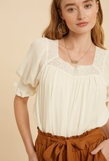 Miss Bliss Square Neck Smocked Top- Creme