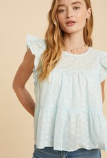 Miss Bliss Tiered Baby Doll Eyelet Top- Powder Blue