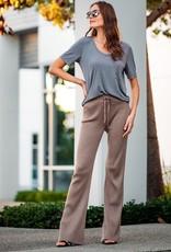 Miss Bliss Modal V Neck Pocket Tee Shirt- Grey