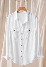 Miss Bliss LS Button Down Shirt- White