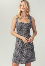 Miss Bliss Ditsy Floral Bustier Dress- Black
