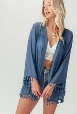 Miss Bliss Lace Back Cardigan With Tassels- Denim