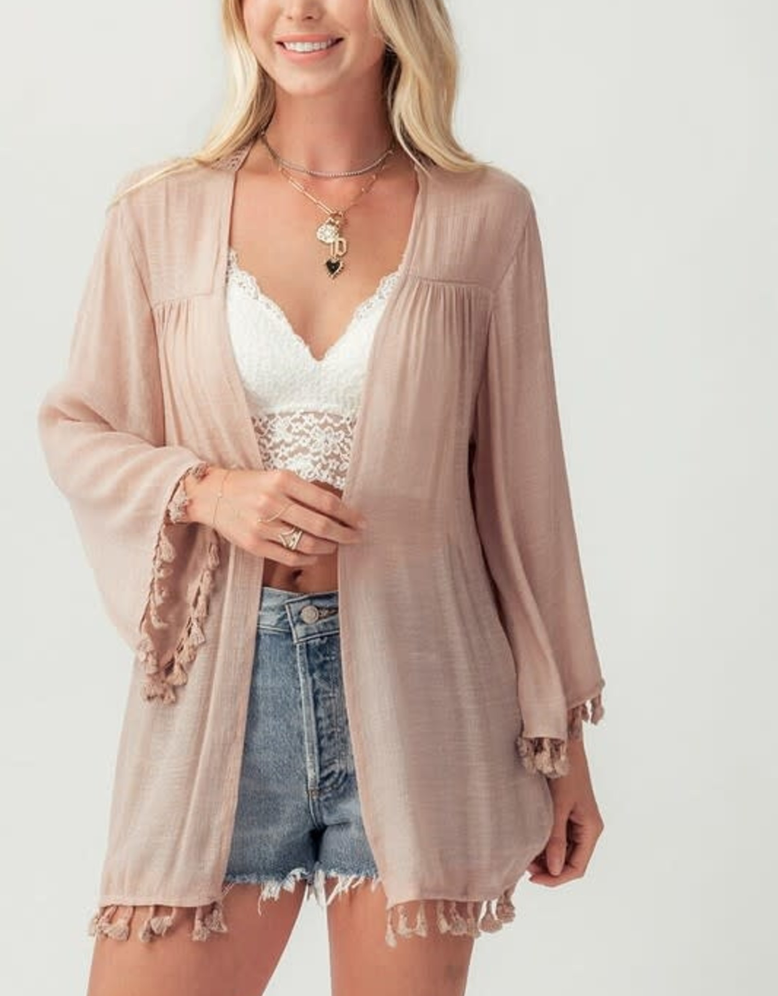 Miss Bliss Lace Back Cardigan With Tassels- Dusty Pink