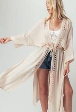 Miss Bliss Crochet Longline Kimono Cardigan- Natural