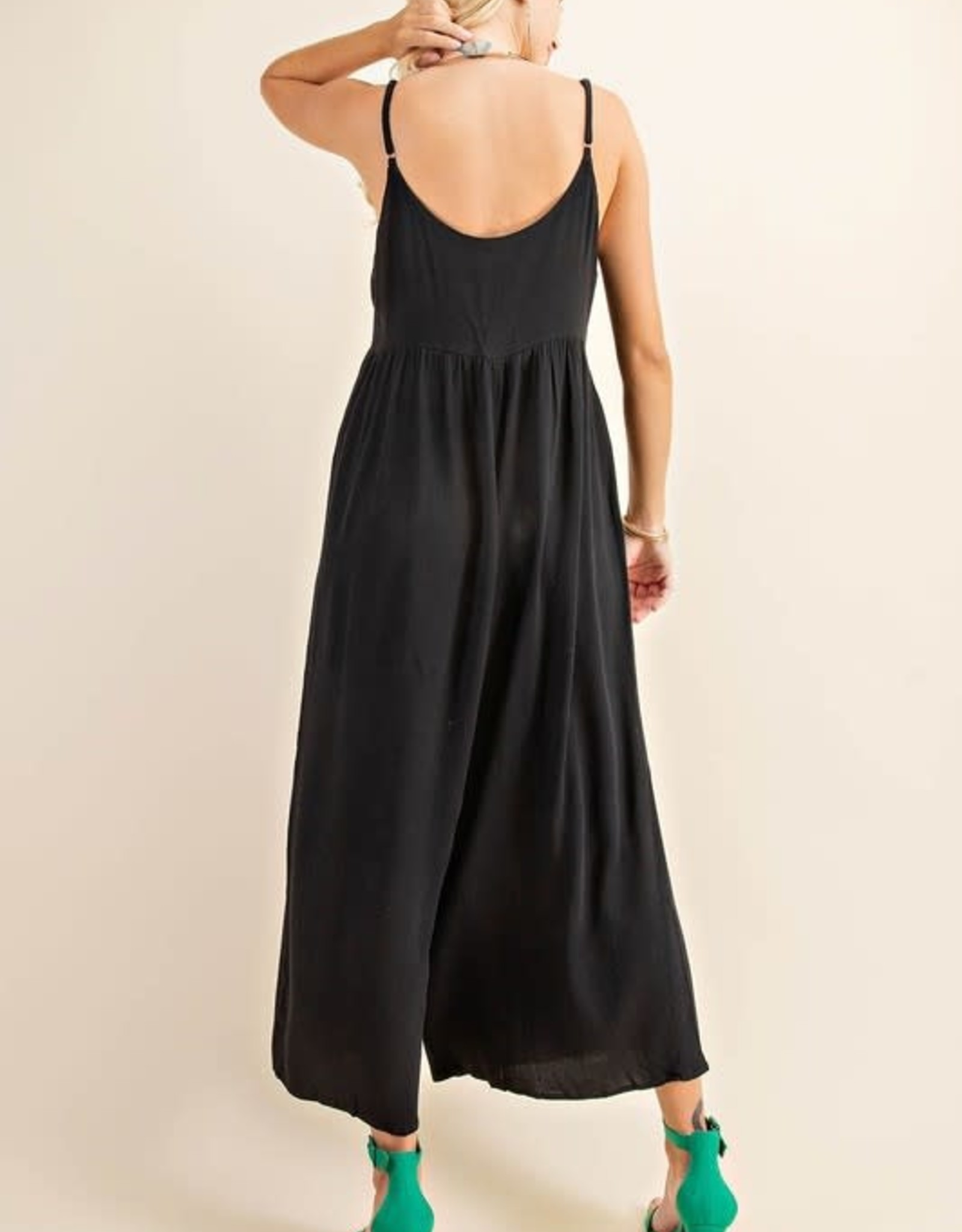 Miss Bliss Button Down Rayon Crepe Jumpsuit