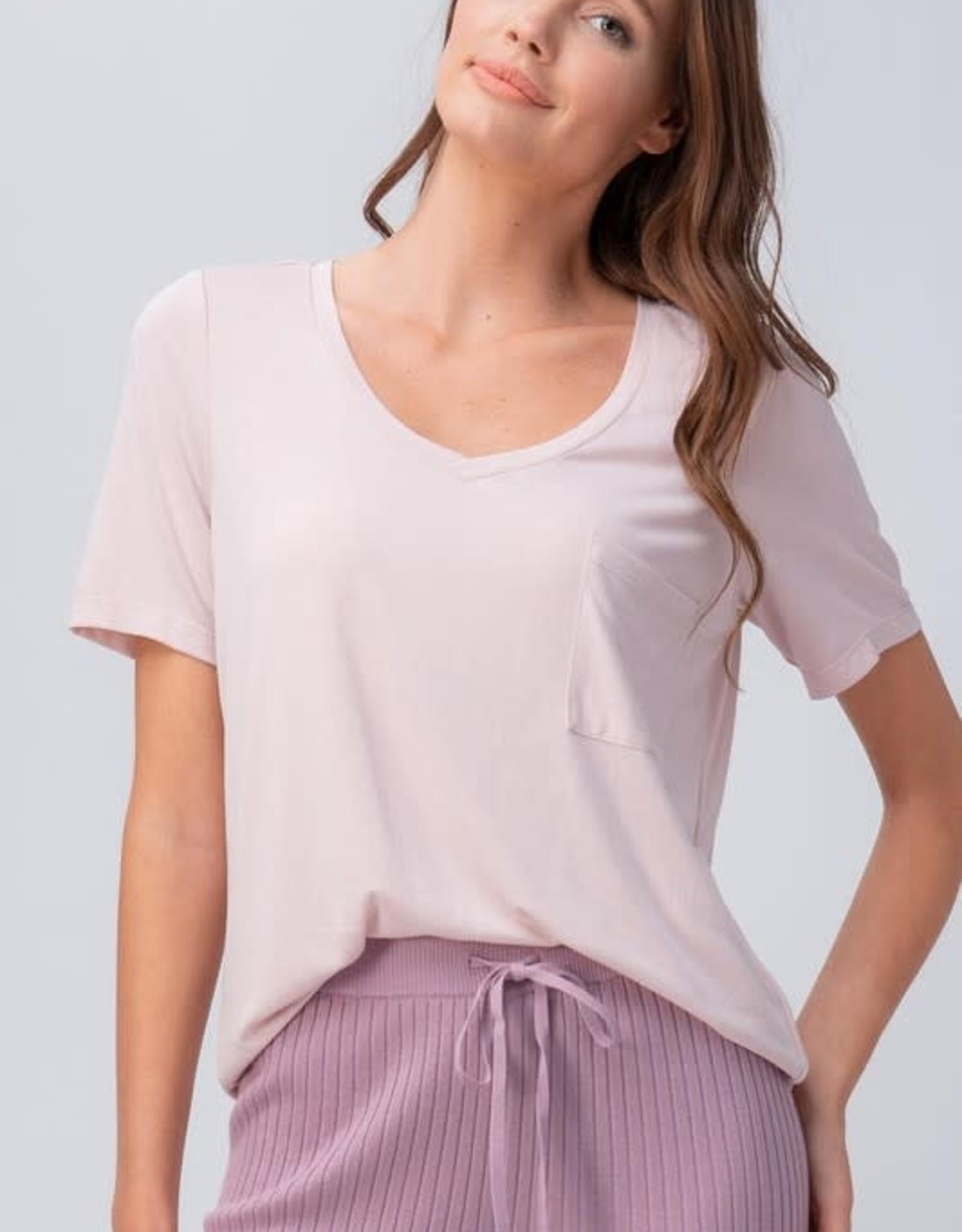 Miss Bliss Modal V Neck Pocket Tee Shirt- Pink Mist