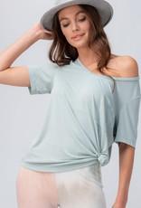 Miss Bliss Modal V Neck Pocket Tee Shirt- Mint