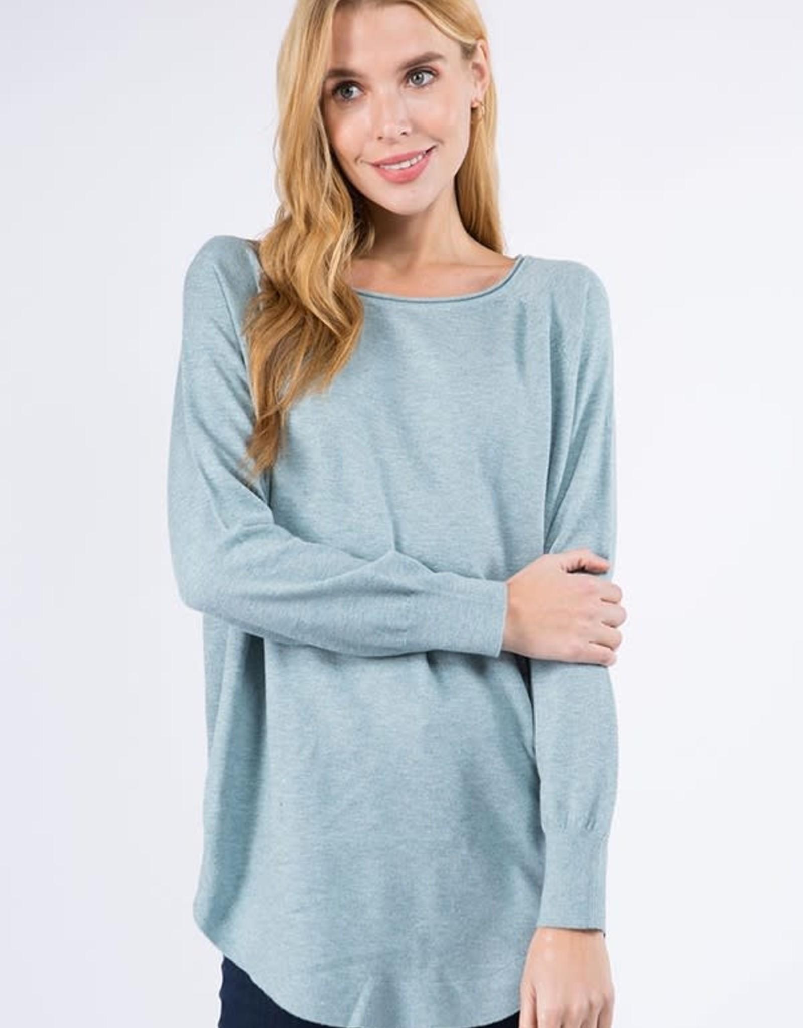 Miss Bliss Boat Neck Sweater w/ Scoop Hem- Heather Mint