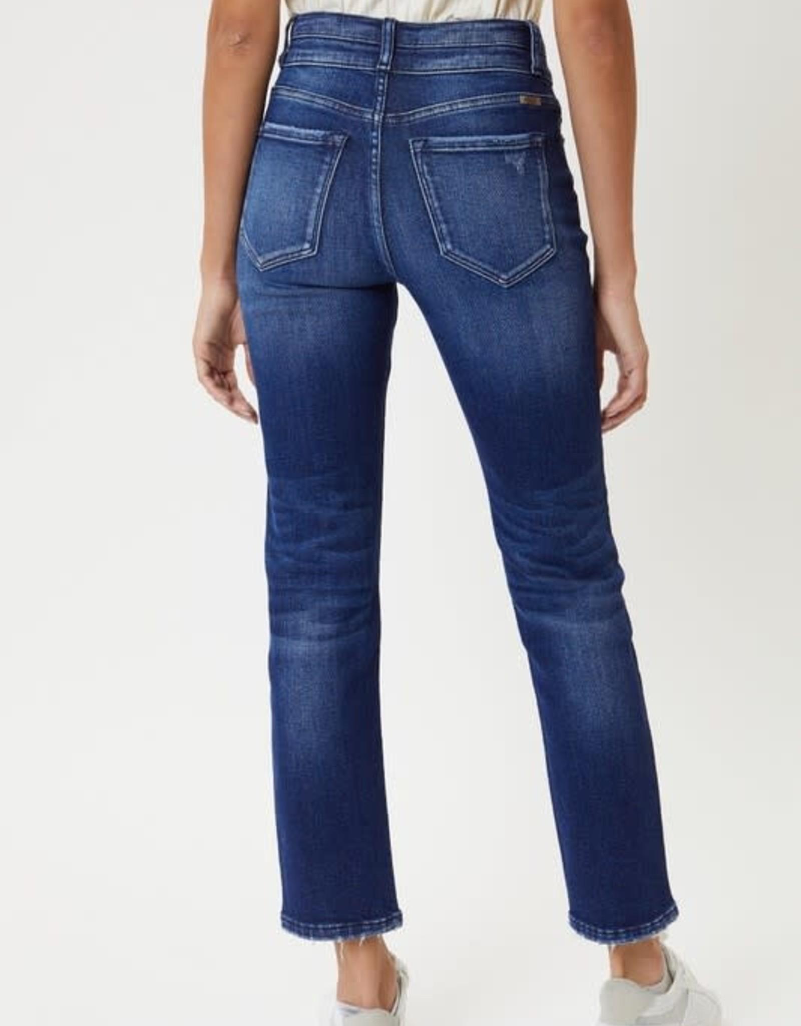 Miss Bliss High Rise Straight Leg Cropped Jean- Dark