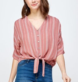 Miss Bliss SS Striped Tie Top- Coral