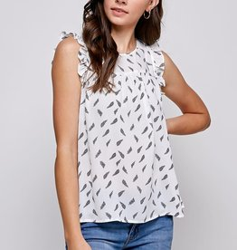 Miss Bliss Printed Slvls Ruffle Top- White