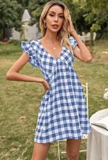 Miss Bliss Gingham Ruffle Sleeve Dress- Blue