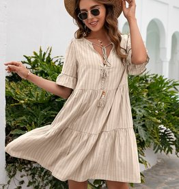 Miss Bliss 1/4 Sleeve Tiered Dress- Apricot