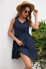 Miss Bliss Tiered Tank Dress- Navy