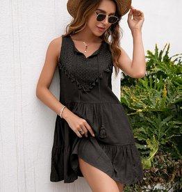 Miss Bliss Tiered Tank Dress- Black
