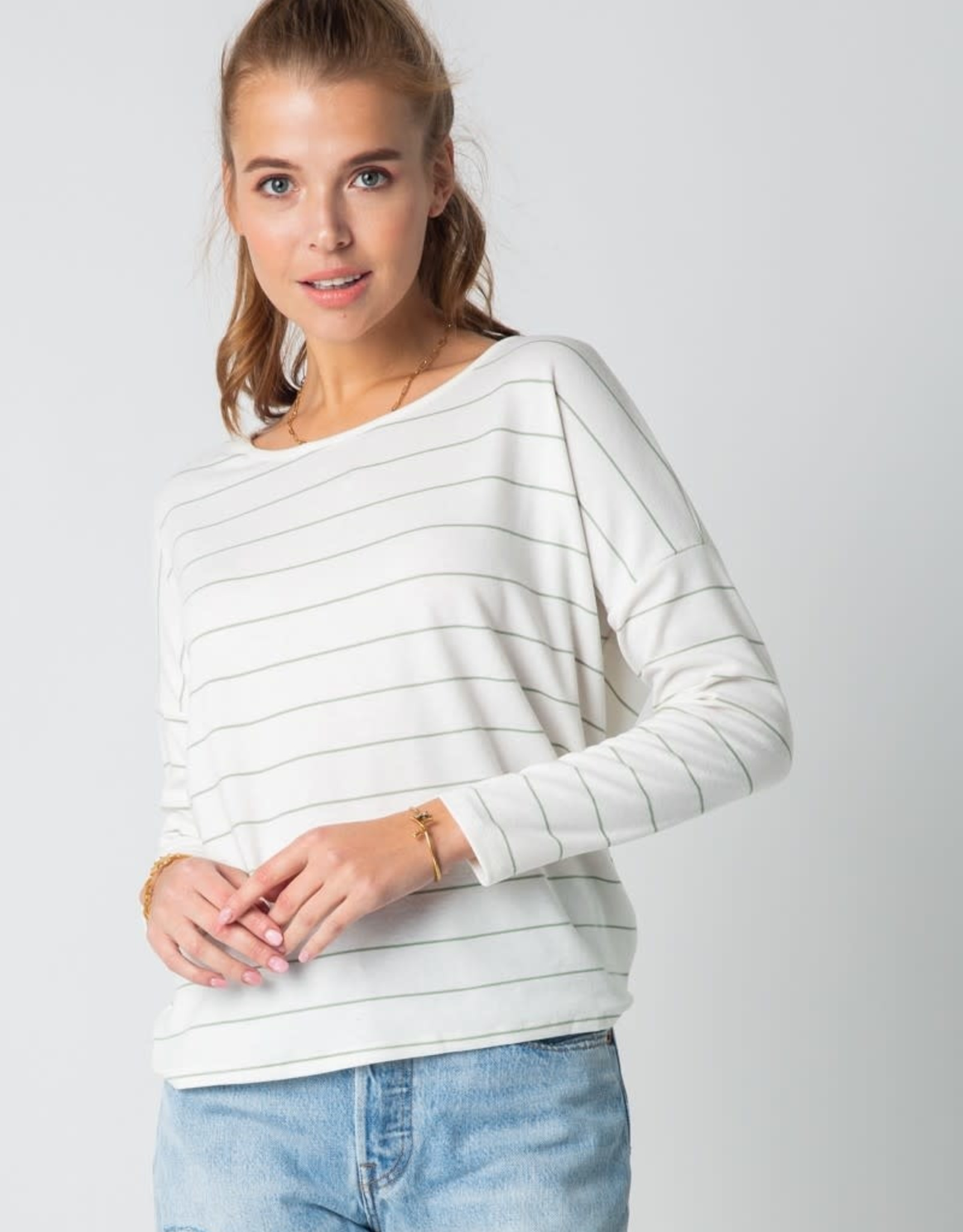 Miss Bliss Striped LS Open Back Top- Off White