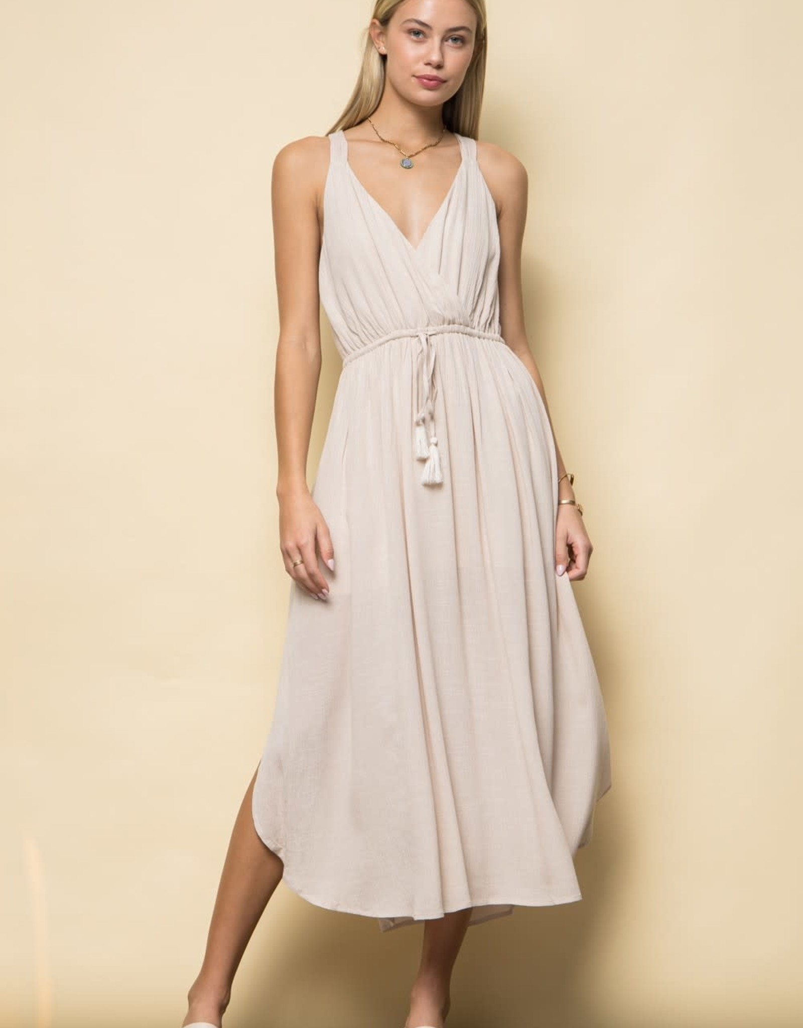 Miss Bliss Solid Slvls Maxi Dress- Sand