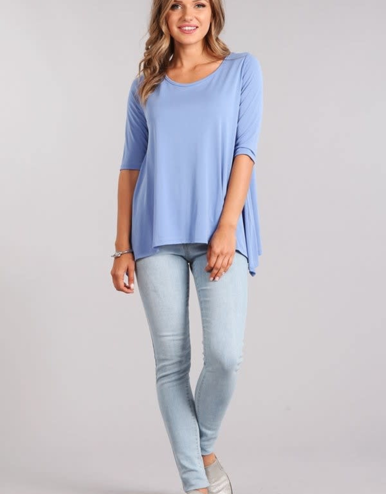 Miss Bliss Knit Basic Top- Indigo Blue