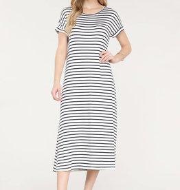 Miss Bliss Striped Maxi Dress- Navy