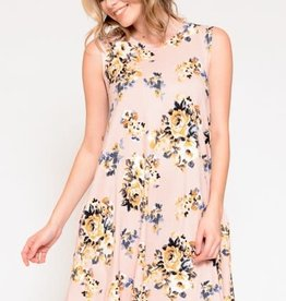 Miss Bliss Floral Dress With Pockets- Pink Print