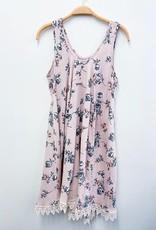 Miss Bliss Floral Print Tank Dress- Pink & Blue