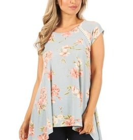 Miss Bliss SS Floral Print Tunic- Blue