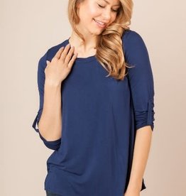 Miss Bliss Soft Knit 3/4 Sleeve Round Neck Top- Navy