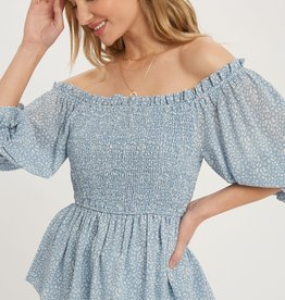 Miss Bliss Ditsy Print Smocked Blouse- Blue