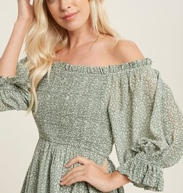 Miss Bliss Ditsy Print Smocked Blouse- Sage