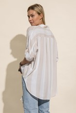 Miss Bliss Soft Linen Button Down Shirt- White/Taupe