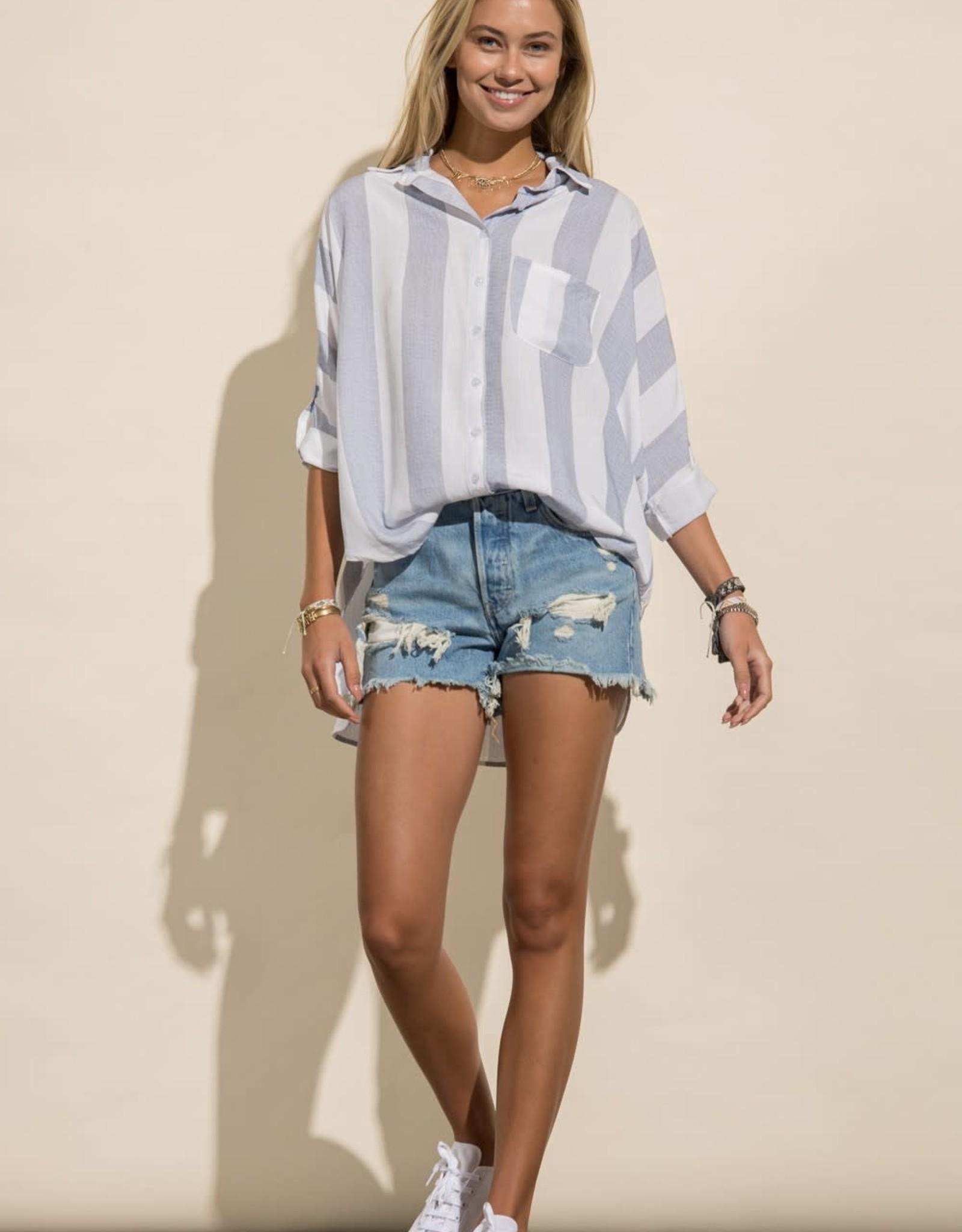 Miss Bliss Soft Linen Button Down Shirt- White/Navy