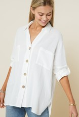 Miss Bliss Rugged Button Down Long Sleeve Top-Off White