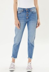 Miss Bliss High Rise Fray Bottom Button Fly- Mid Wash