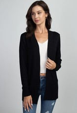 Miss Bliss Open Ribbed Cardigan- Black