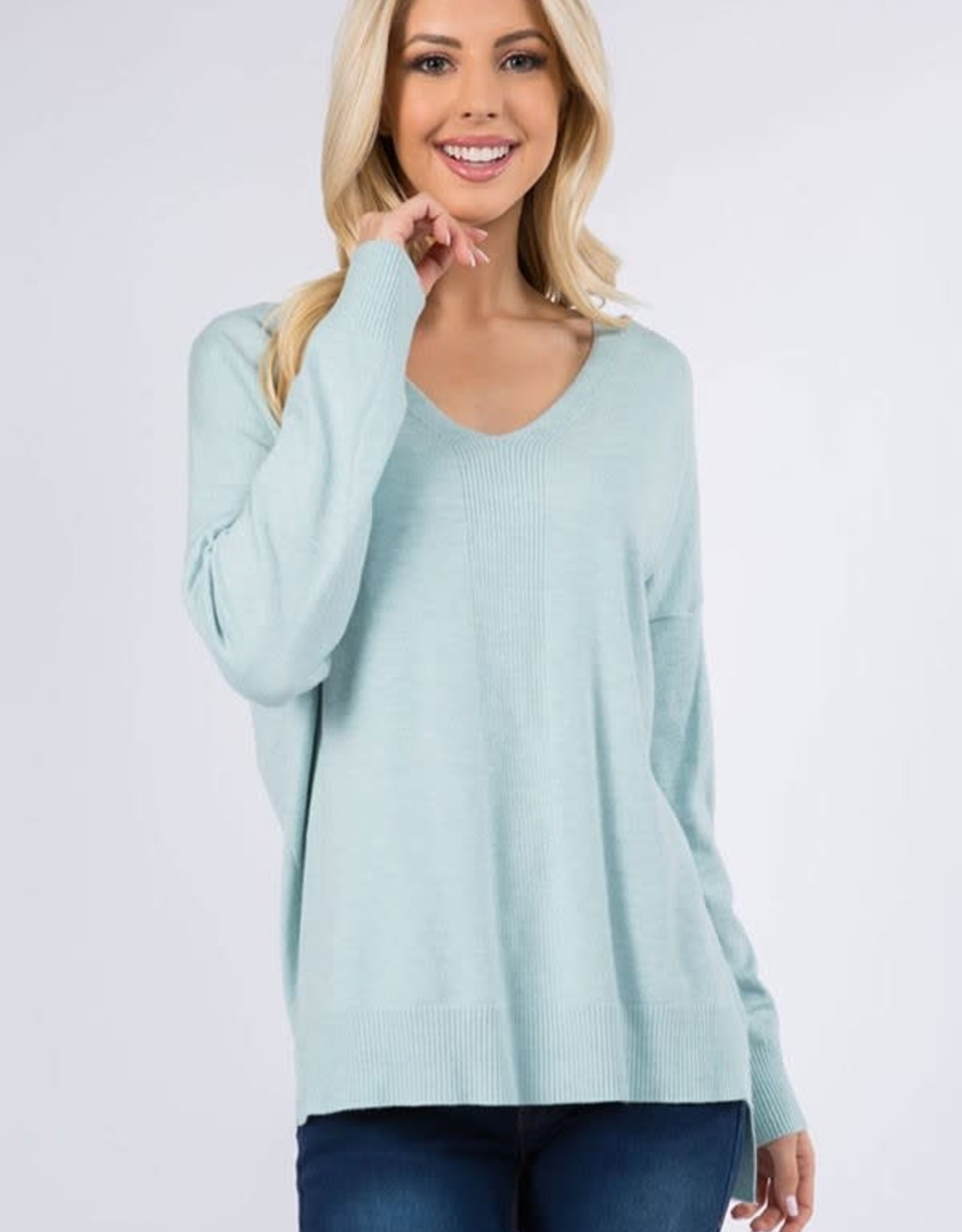 Miss Bliss LS V Neck Soft Yarn Pullover- H.Cloud