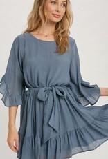 Miss Bliss Ruffled Angel Sleeve Dress- Denim Blue