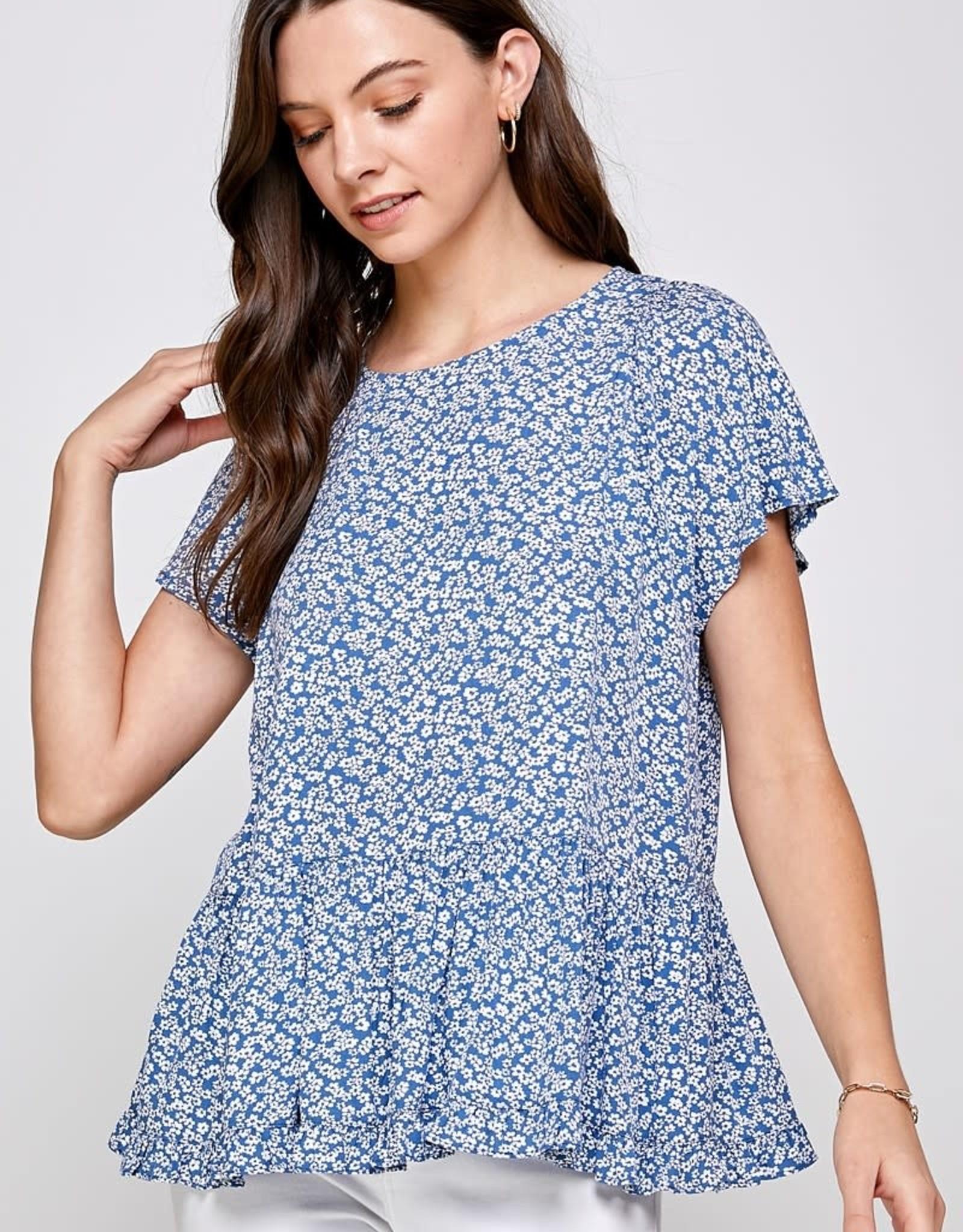 Miss Bliss Ditsy Print Drop Shoulder Slv Top-Blue