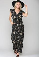 Miss Bliss Floral Print Jumpsuit W/ Wide Leg-Black