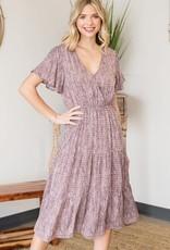 Miss Bliss Flutter Woven Rayon V Neck Midi Dress-Magenta