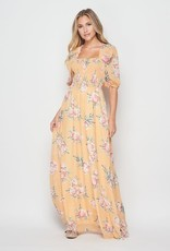 Miss Bliss Woven Floral Print Long Slv Square Neck Maxi-Marigold