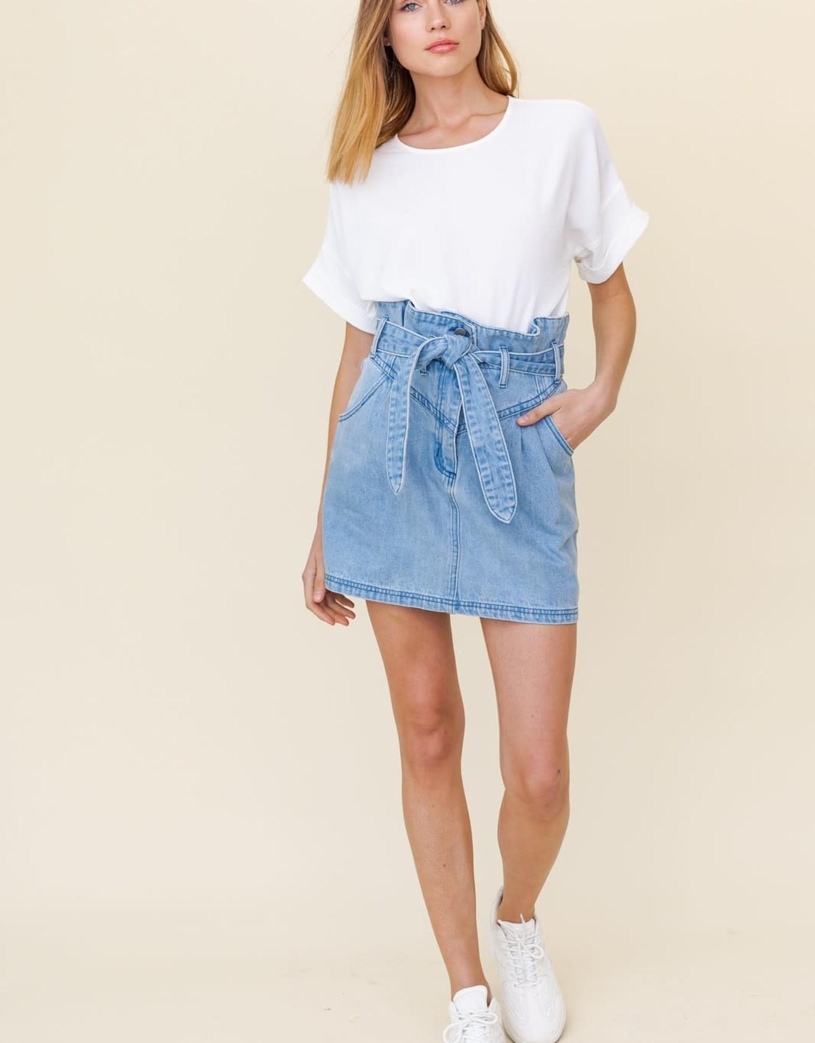 Miss Bliss Washed Denim Mini Skirt W Tied Belt