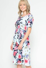 Miss Bliss Floral Babydoll Dress- Blue & Coral