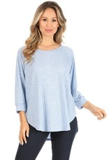 Miss Bliss 3/4 Sleeve Round Neck Top- Blue