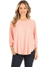 Miss Bliss 3/4 Sleeve Round Neck Top- Peach
