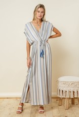 Miss Bliss Striped Maxi Dress With Tie- Navy & Taupe