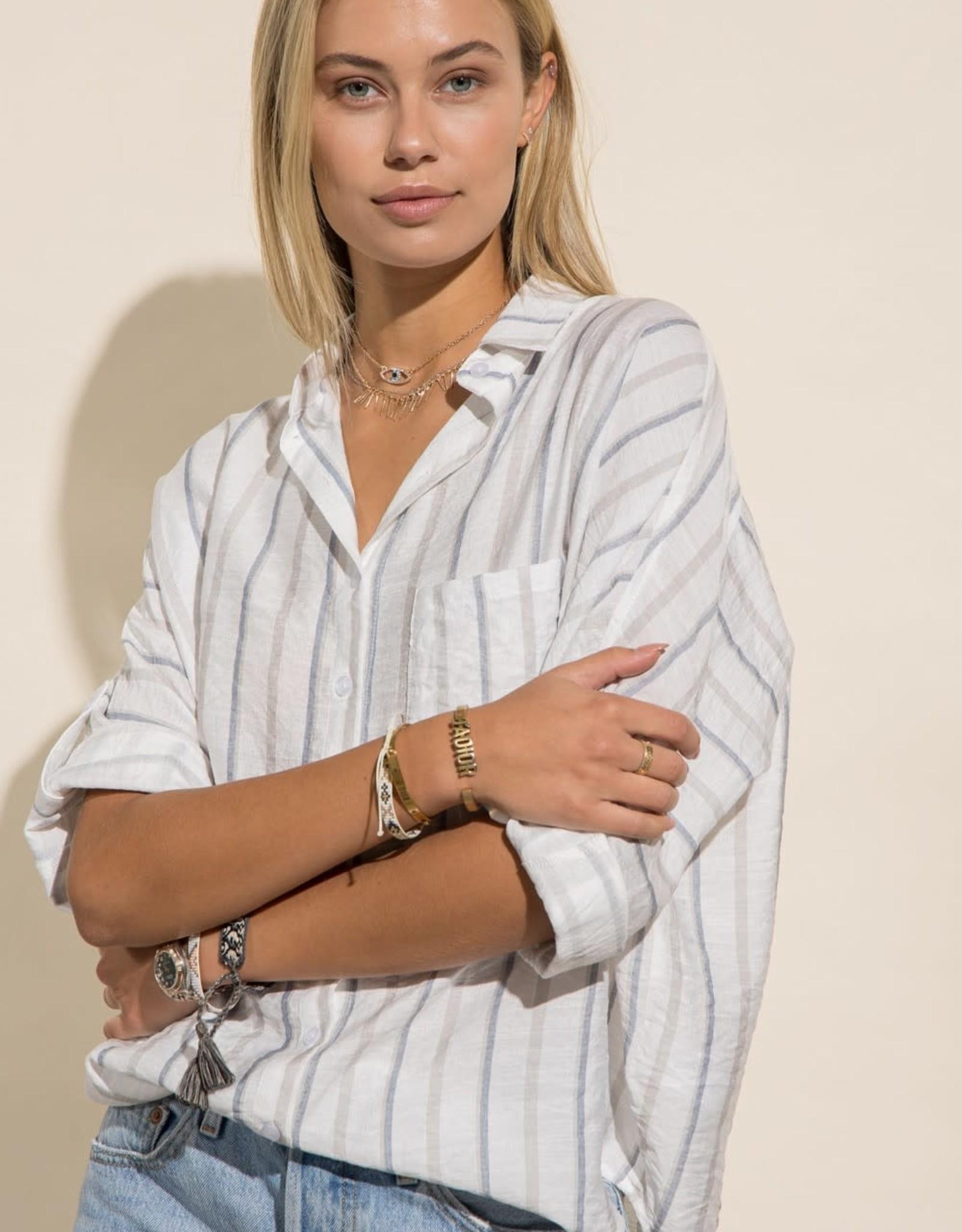 Miss Bliss Oversized Striped Boyfriend Shirt- Off White